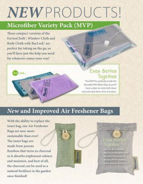 Take your cloths with you wherever you go with the MVP pack. It contains a travel-sized version of our EnviroCloth, Window Cloth and Body Cloth. The Air Freshener Bags just got even better with new refillable pouches that reduce waste!